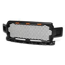 For ford f150 2018 2019 raptor <b>style</b> front grille grill black amber <b>led</b> ...