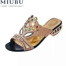<b>MIUBU</b> Slippers <b>Women</b> Rhinestone Summer <b>Shoes</b> Wedges Slides ...