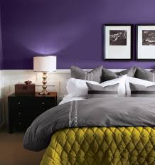 Bedroom  Magnificent Modern Bedroom Color Design Ideas With Walls Painted Of Purple Plus White Laminated Wooden Ornament Also Dark Varnished Bedside   I