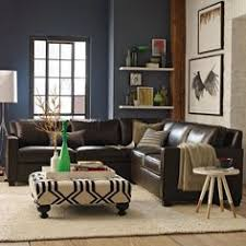 dark walls ottoman side table sectional love it blue walls brown furniture
