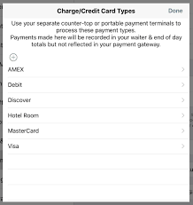 chapter payments and bill chit customization touchbistro non integrated card types