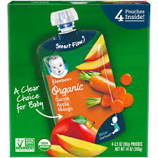(Pack of 4) Gerber <b>Organic</b> 2nd Foods <b>Baby</b> Food Carrot Apple ...