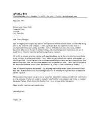 writer cover letter for entertainment industry