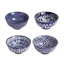 Blue/White Patterned Bowls, <b>Set of 4</b> - <b>Christmas</b> Tree Shops and ...
