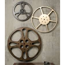 metal wall decor shop hobby: movie reels wall decor makipera interlude home film reel wall art action decoration bronze silver round shaped circle grey wallpaper background