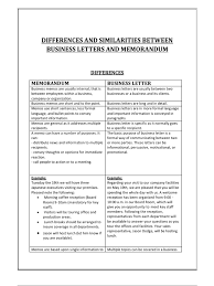 differences and similarities between business letters and memorandum