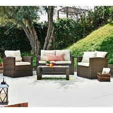 brown wicker outdoor furniture dresses: roatan tan  piece outdoor wicker conversation set