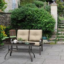 Costway <b>2 Pcs</b> Patio Outdoor Loveseat <b>Coffee Table</b> Set Furniture ...