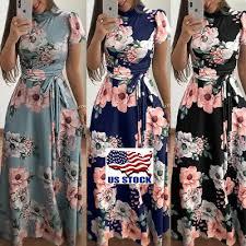<b>Women's Summer Boho</b> Floral Short Sleeve Long Maxi Dress Party ...