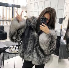 Silver <b>Fox Fur</b> Women Regular Collar Coat <b>Black Real</b> Fox Whole ...