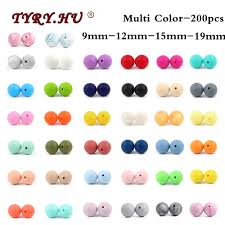 TYRY.HU 200pcs Food Grade Round Silicone Beads 12mm 9mm ...
