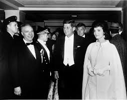 inauguration of john f kennedy president john f kennedy and first lady jacqueline kennedy wearing a gown designed by ethel franken of bergdorf goodman arrive at sinatra s inaugural