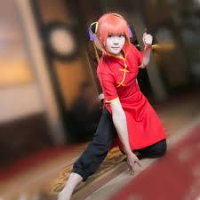 Kagura cosplay costumes red cheongsam black trousers <b>Japanese</b> ...