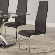 faux leather dining chair black: coaster modern dining black faux leather dining chair with chrome legs coaster fine furniture