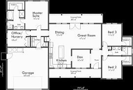 Single Level House Plans  One Story House Plans  Great Room HouseMain Floor Plan for Single level house plans  one story house plans  great