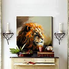 Lion Canvas <b>Wall Art</b> Modern Animal Oil Painting Decorative Picture ...