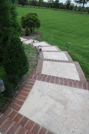 patio steps pea size x: brick inlay sidewalk idea for front service walk and steps