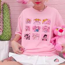 Pink/white <b>sailor moon</b> cartoon <b>printing</b> t-shirt SE10244 – SANRENSE