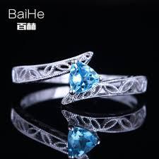 Женское <b>кольцо с голубым</b> топазом BAIHE, <b>белое</b> золото 14 к ...