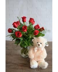 One Dozen Classic <b>Red Roses</b> & Extra Large <b>Bear</b> - Sylvia's ...