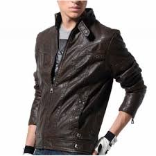 <b>Stand Collar</b> Black Full Sleeves <b>Leather Biker</b> Jacket for Men ...