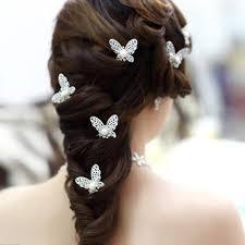 <b>12pcs</b>/<b>lot</b> Butterfly <b>Hair Clips</b> Rhinestone Pearl <b>Hair Accessories</b> ...
