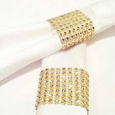<b>50 Pcs</b><b>lot</b> European Style Gold <b>Napkin Ring</b> Plastic Rhinestone ...