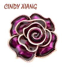 <b>CINDY XIANG</b> 7 Colors Available Enamel Peony Brooches for ...
