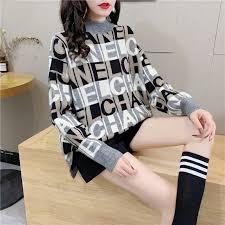 Lazy wind letter jacquard women <b>pullover</b> sweater Japanese <b>loose</b> ...