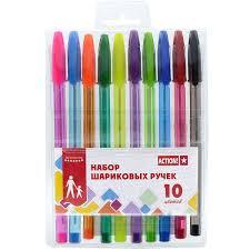 <b>Набор</b> разноцветных шариковых ручек <b>ACTION</b>!, 10 цветов ...