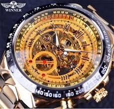 <b>T</b>-<b>WINNER Designer</b> Black Golden Automatic Skeleton Sport Watch ...