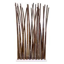 black bamboo room divider on white steel base plate  x  cm