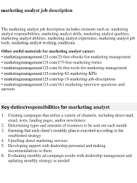 marketing analyst job description