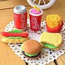 <b>6PCS/Set Cute Kawaii</b> Eraser Hamburger Food French Fries Hot ...