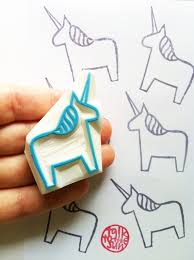 <b>Unicorn rubber stamp</b> | dala horse <b>stamp</b> | animal hand carved ...