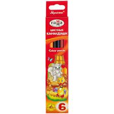 <b>Набор цветных</b> карандашей «Мультики», трёхгранные, <b>6</b> шт.