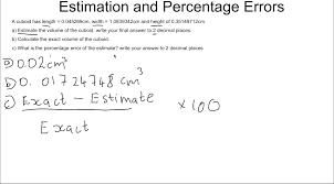 estimation and percentage error estimation and percentage error