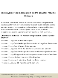 top 8 workers compensation claims adjuster resume samples in this file you can ref resume claims adjuster resume sample