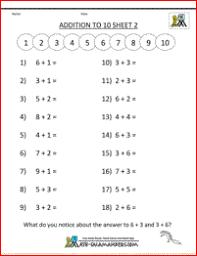 Addition Math Worksheets for Kindergartenfree online math worksheets addition to 10 2