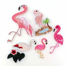 Mix Style <b>Flamingo Birds</b> Patches Iron On Embroidery Patch Badges ...