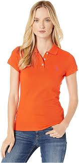<b>U.S. Polo</b> Assn. Solid Pique Polo Shirt Bonfire/<b>Le</b> Rouge LG ...