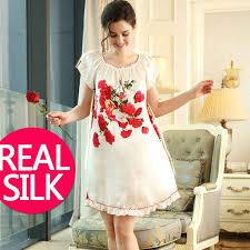 <b>100</b>% <b>pure silk nightgowns</b> women Sexy sleepwear Home dresses ...