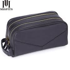 MISFITS crazy horse <b>genuine</b> leather men's cosmetic bag for male ...
