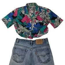 Vtg 90s <b>Hawaiian</b> Shirt Crazy All Over <b>Print Zebra Floral</b> Medium ...