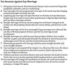 top  reasons to be against gay marriage   news and current  posted image