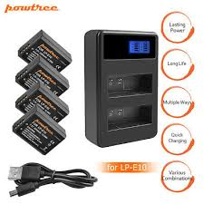powtree for canon 2pcs 2800mah 7 2v lp e6 lp e6 lpe6 camera battery lcd dual charger eos 5d mark ii iii 60d 70d