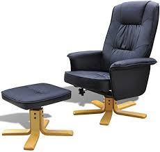 vidaXL Black Artificial Leather <b>TV Armchair with Foot</b> Stool: Amazon ...
