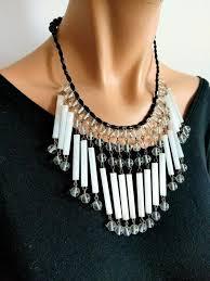 <b>Crystal</b> Onyx <b>Bib</b> Collar <b>Necklace</b> Persian Jewelry Ethnic <b>Fringe</b> ...