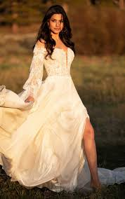 Summer Boho <b>Wedding Gown with Detachable</b> Bell Sleeves - All ...