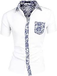 uxcell <b>Men's Summer Floral Printed</b> Button Down <b>Short Sleeve</b> Color ...